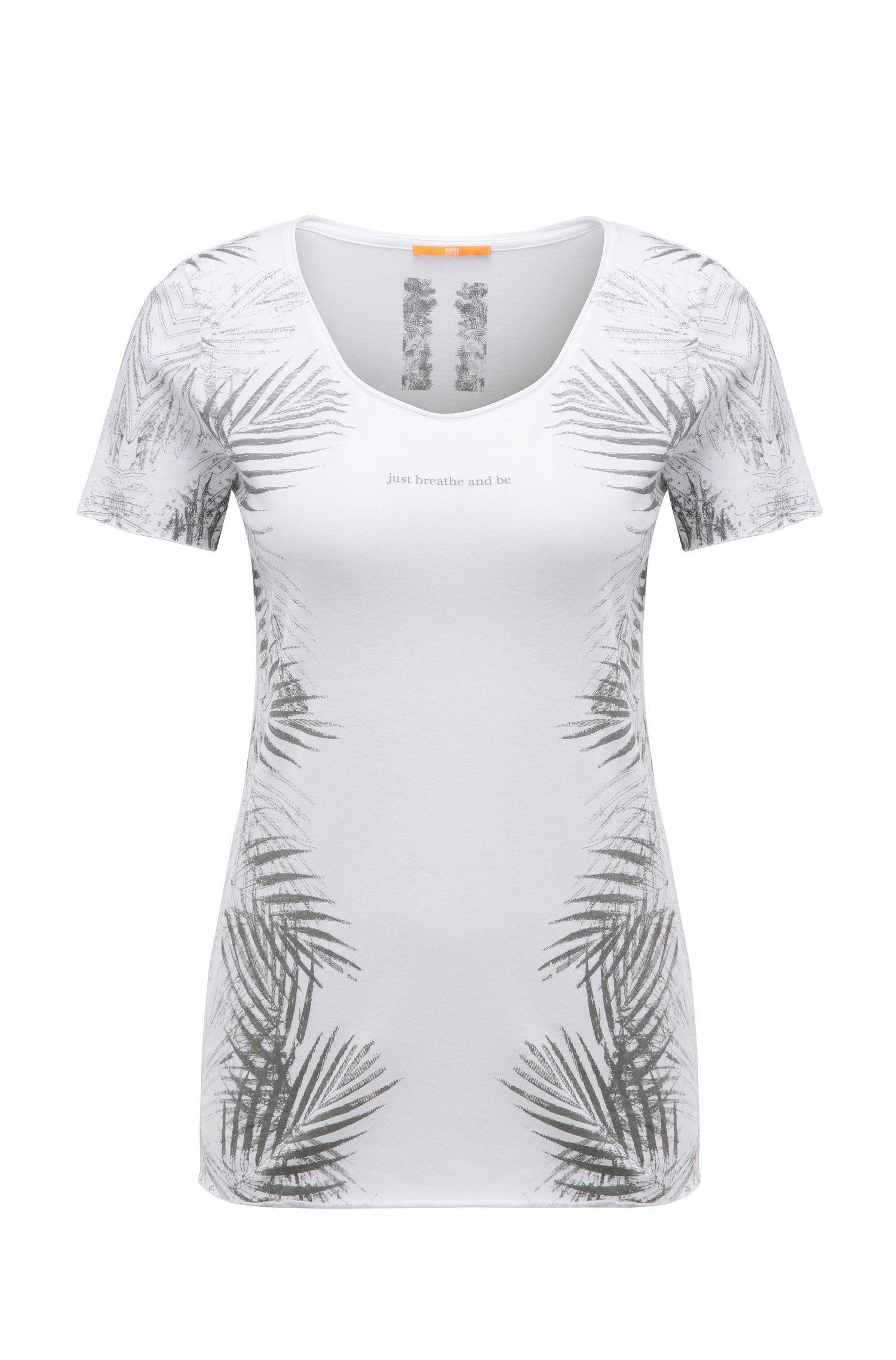 T-shirt Slim Fit imprimé en coton mélangé à du modal: «Tasensation»