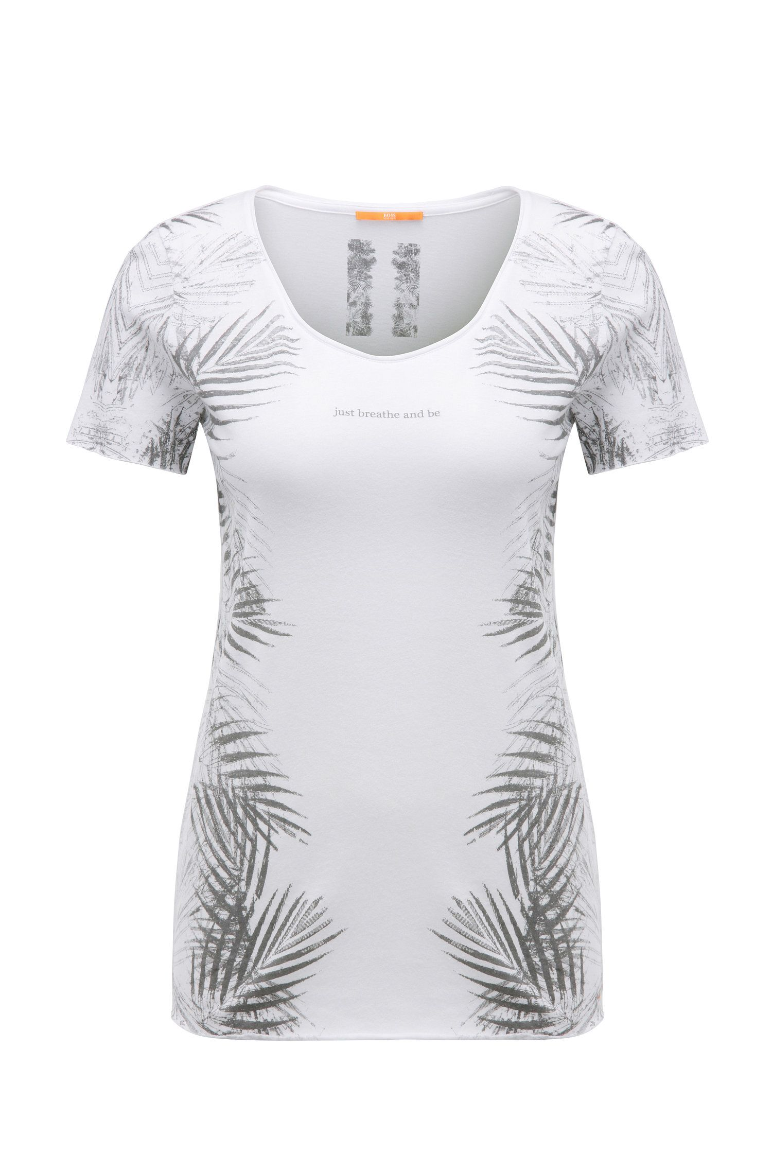 T-shirt slim fit stampata in misto cotone e modal: 'Tasensation'
