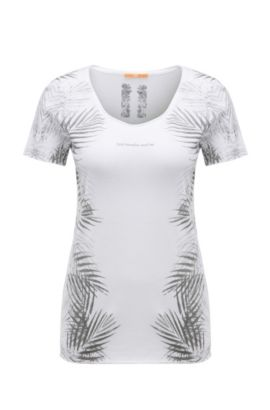 Printed slim-fit t-shirt in cotton blend with modal: 'Tasensation', White