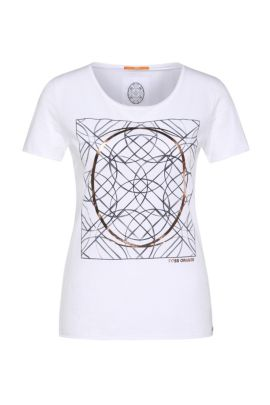 Slim-fit cotton shirt with graphic print: 'Tishirt', White