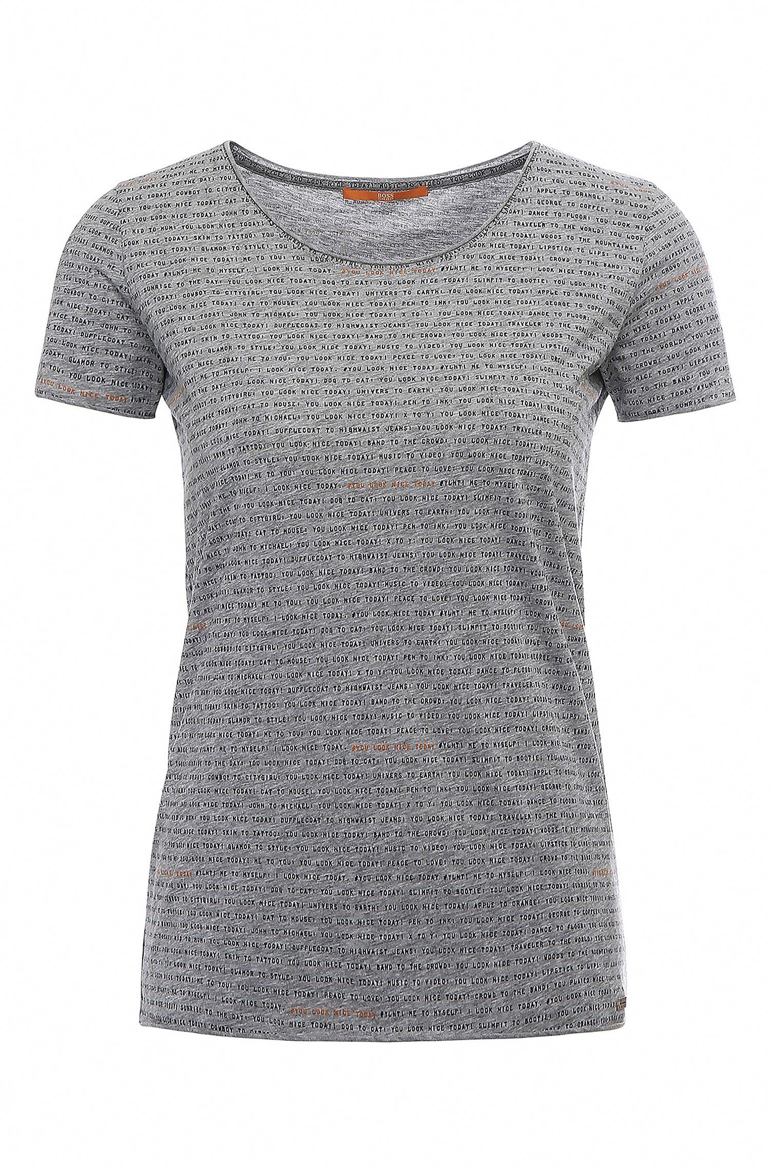 Regular-fit shirt van katoen met teksten: 'Tashirt'