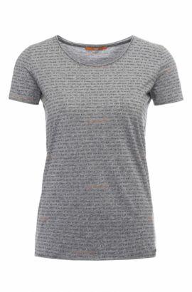 Camiseta regular fit de algodón con texto: 'Tashirt', Gris