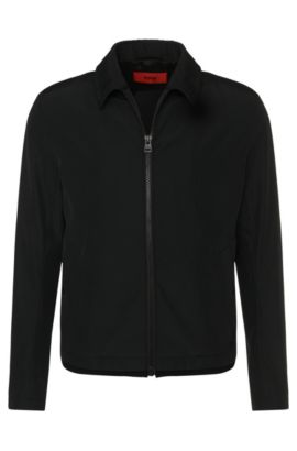 Jacket in a water-repellent fabric blend with a turn-down collar: 'Banzot', Black