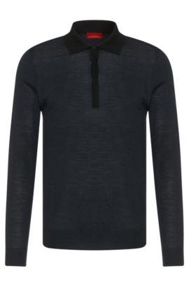 Jersey slim fit en mezcla de lana virgen con cuello de polo: 'Seven', Negro