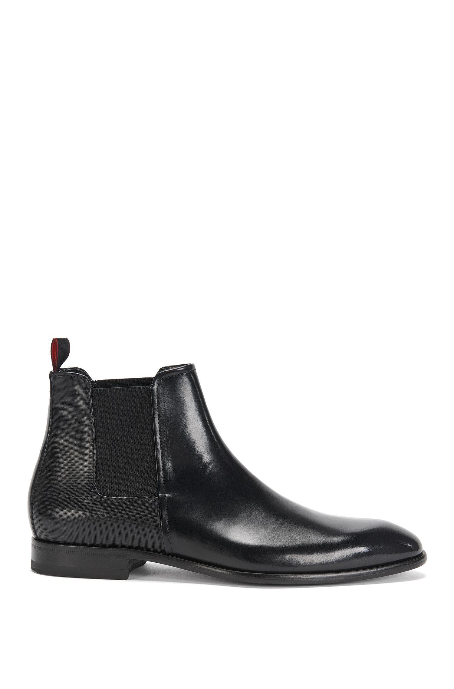 Leather Chelsea boots in a texture mix: 'Dressapp_Cheb_boprpf'