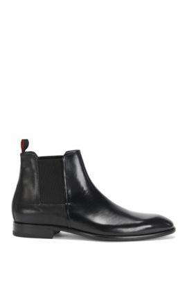 Leather Chelsea boots in a texture mix: 'Dressapp_Cheb_boprpf', Black