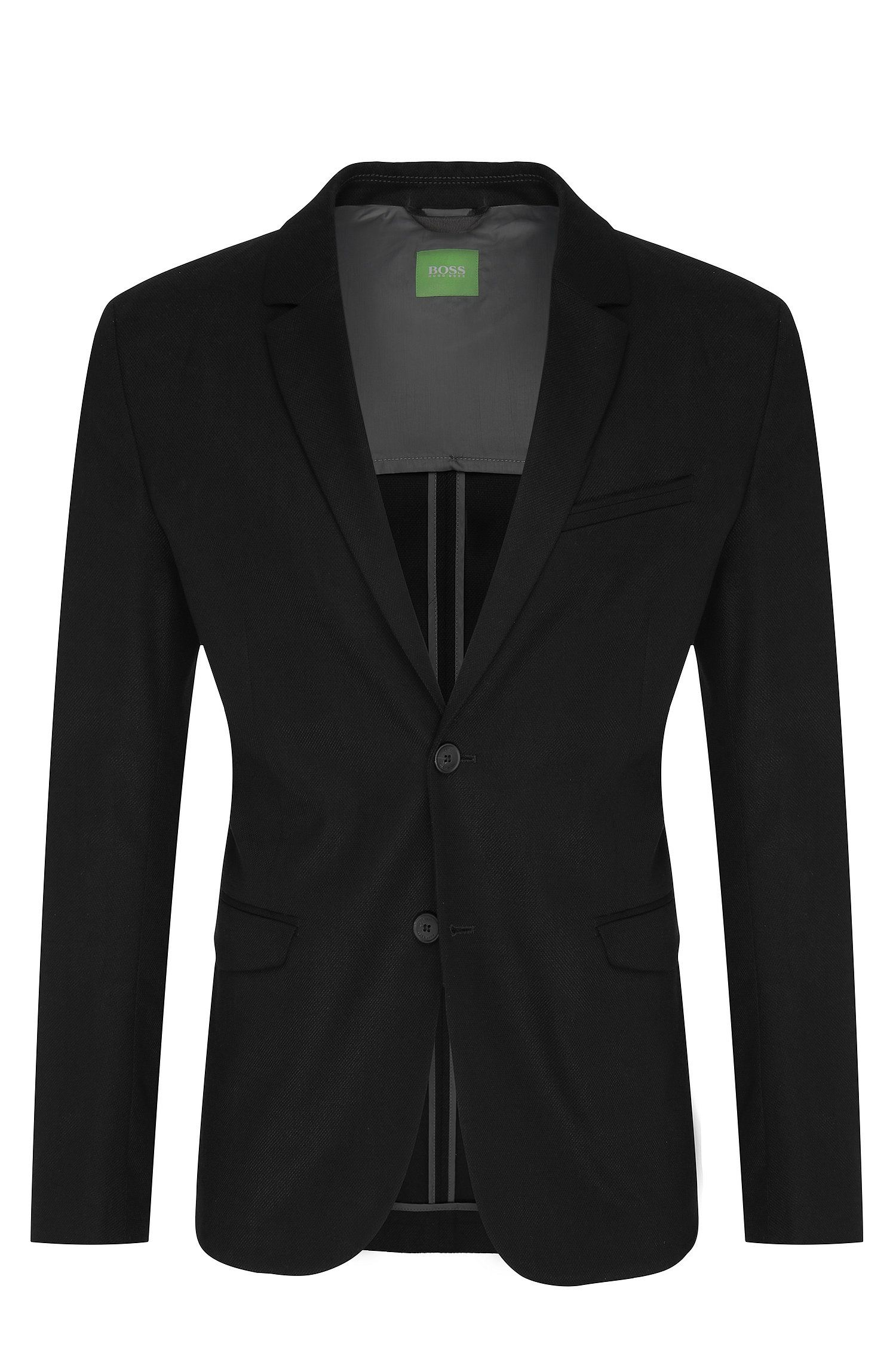 Slim-fit 2-buttoned jacket in textured cotton: 'Aymo'