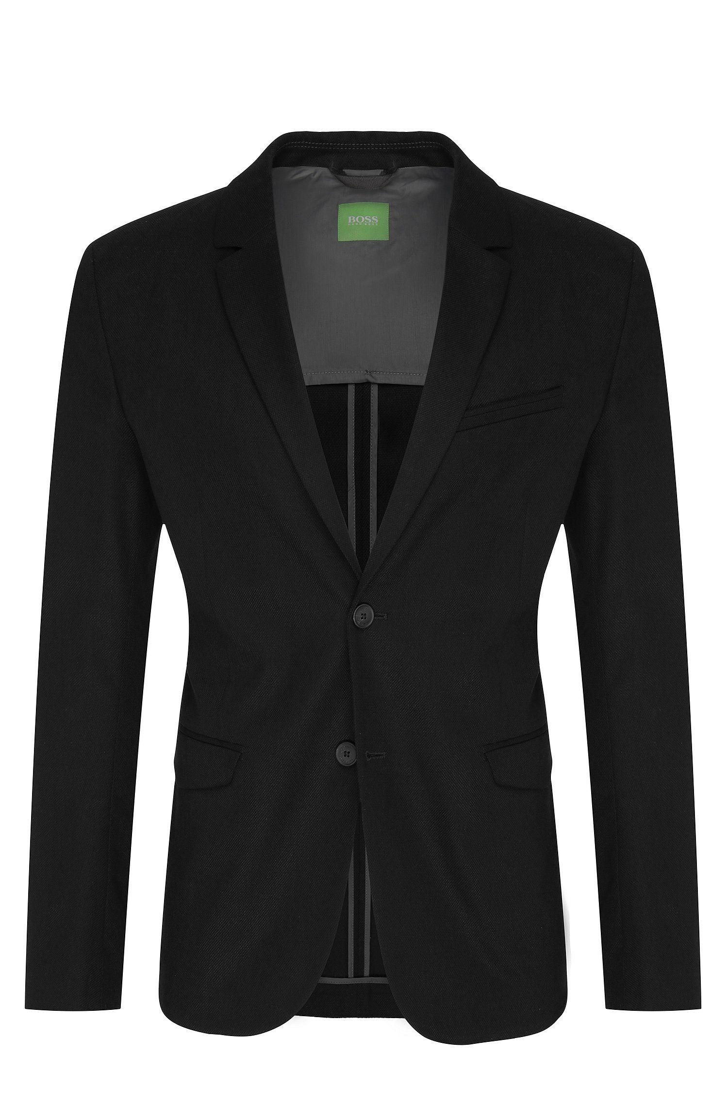 Veste de costume Slim Fit à deux boutons, en coton structuré: «Aymo»