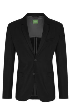 Slim-fit 2-buttoned jacket in textured cotton: 'Aymo', Black