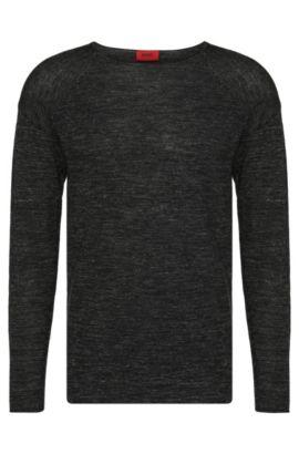 Pull chiné Regular Fit en laine vierge mélangée à teneur en lin: «Sullmore», Noir