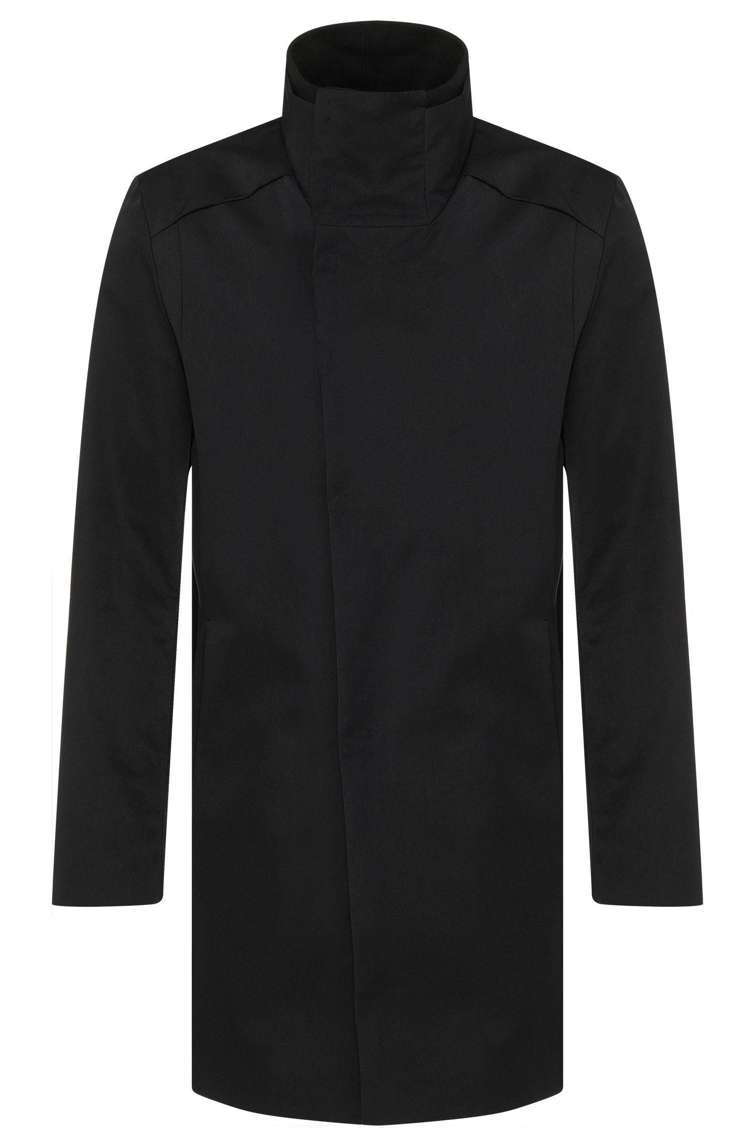 Manteau en mélange de matières présentant une coupe asymétrique devant: «Melno»