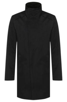 Manteau en mélange de matières présentant une coupe asymétrique devant: «Melno», Noir