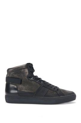 High-Top Sneakers aus Leder im Metallic-Look: 'Futurism_Hito_mxgl', Dunkelgrau
