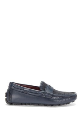 Tailored moccasins in leather with sections in a braided texture: 'T-Driver_Mocc_wo', Dark Blue
