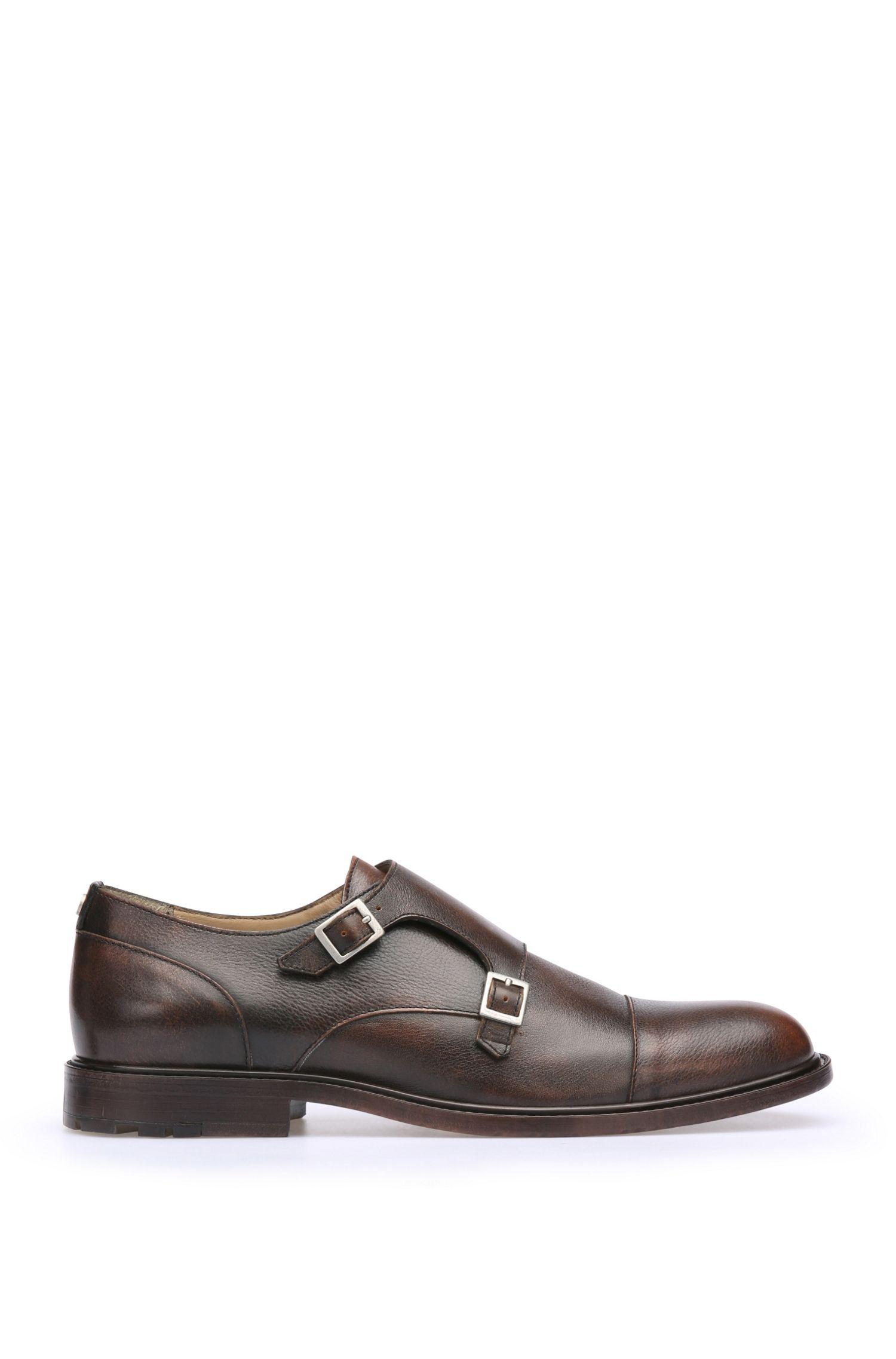 Zapatos monk de hebilla en piel con lujoso acabado usado: 'Cultroot_Monk_bo'