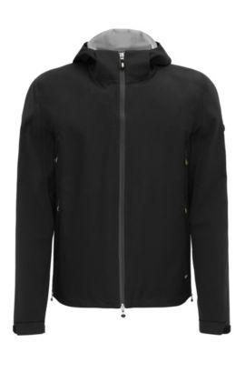 Regular-fit jas van een materiaalmix met NFC-logo: 'Japple', Zwart