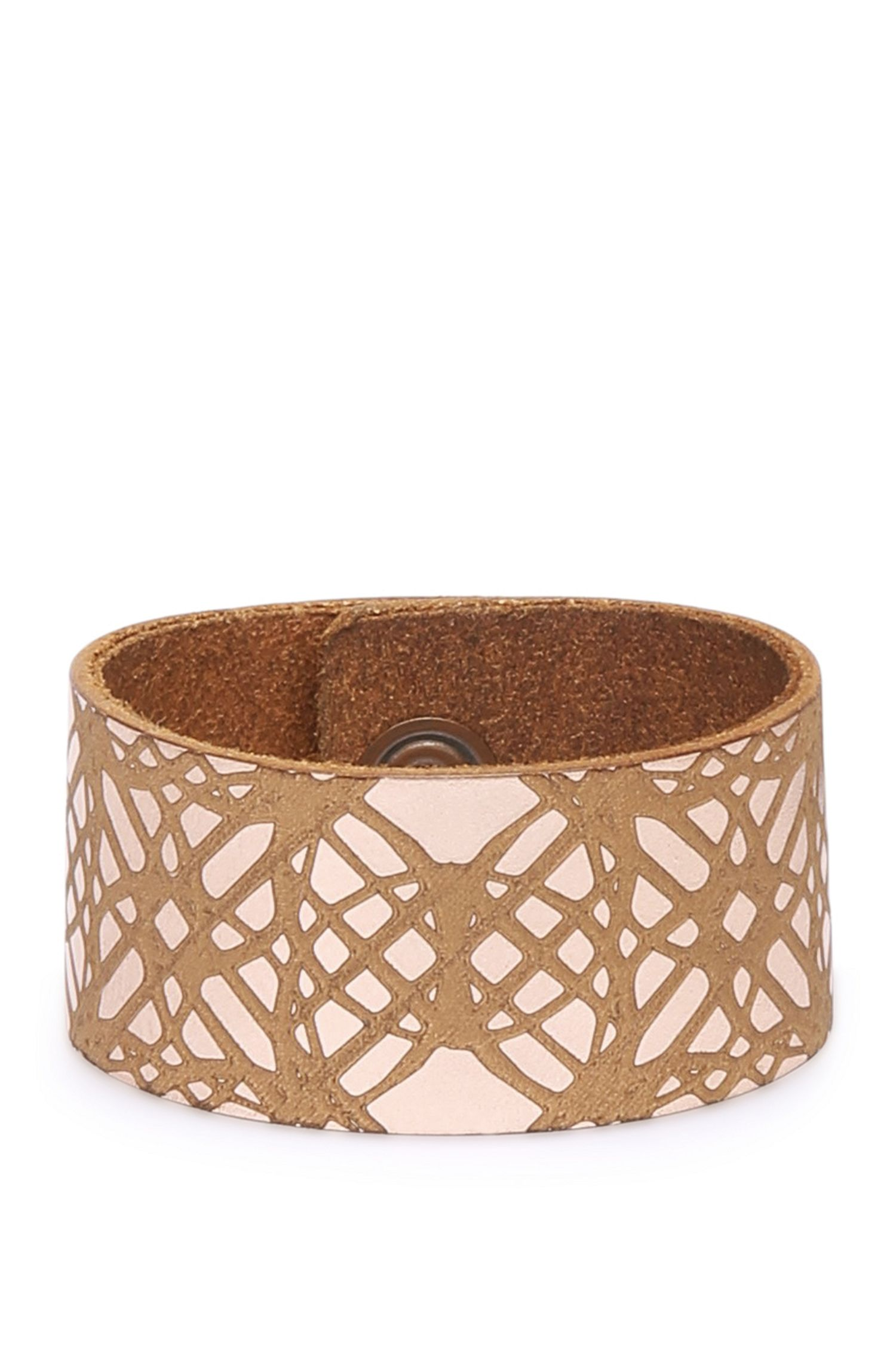 Wide leather bracelet with graphic pattern: 'Mircle'