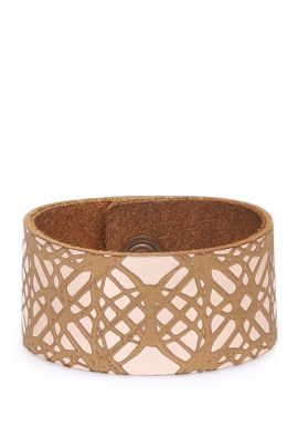 Bracciale in pelle largo con pattern grafico: 'Mircle', Marrone