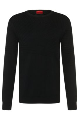 Loosely fitting sweater in cotton blend with silk and cashmere: 'Sagano', Black