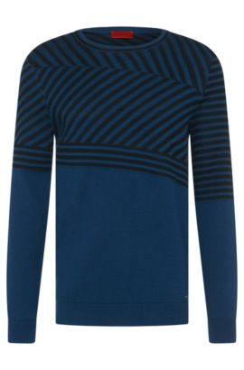 Loosely fitting sweater in cotton blend with silk and cashmere: 'Sagano', Open Blue