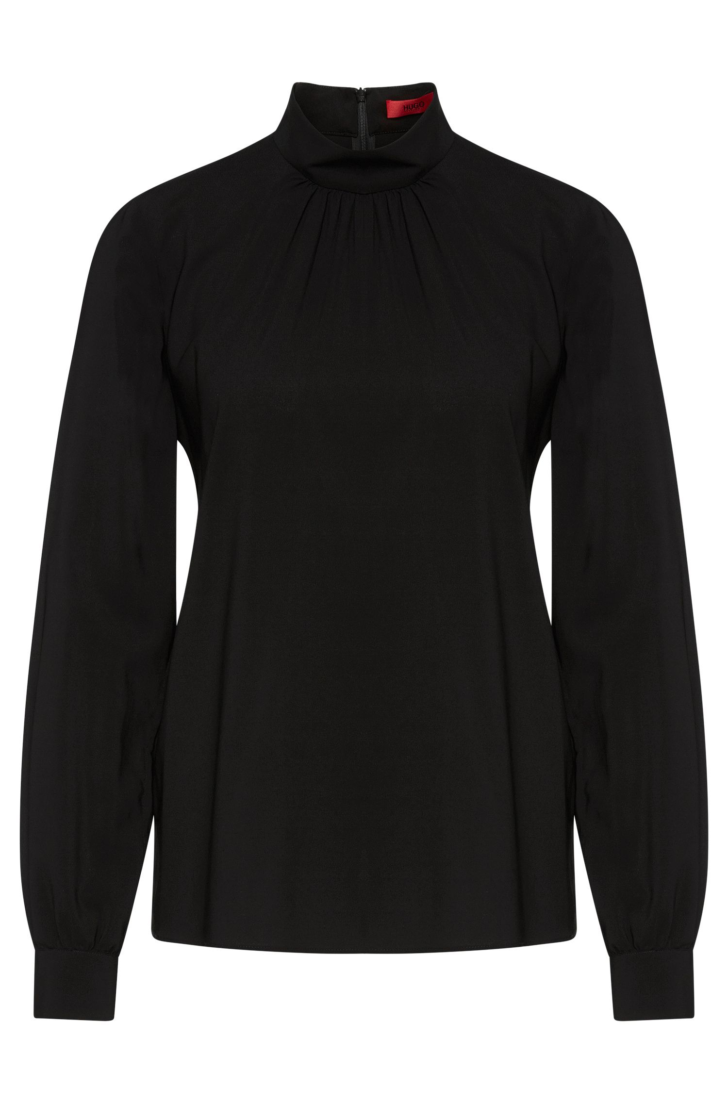 Blouse in stretch viscose with pleated details: 'Carinas-1'