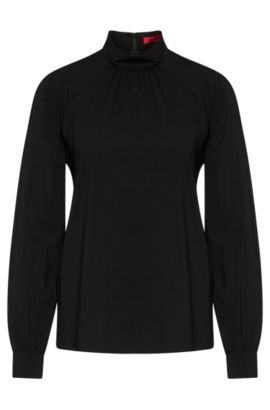 Blusa de viscosa elástica con pliegues: 'Carinas-1', Negro