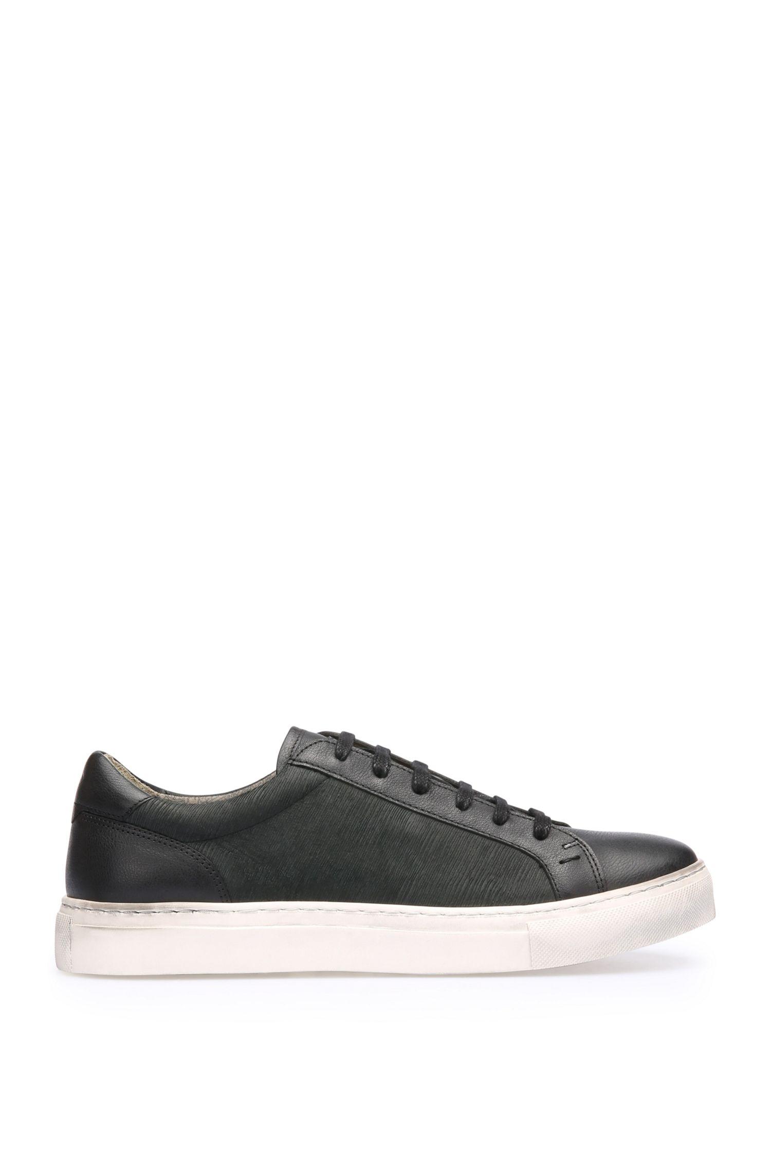 Sneakers in pelle con struttura variegata: 'Noir_Tenn_sdls'