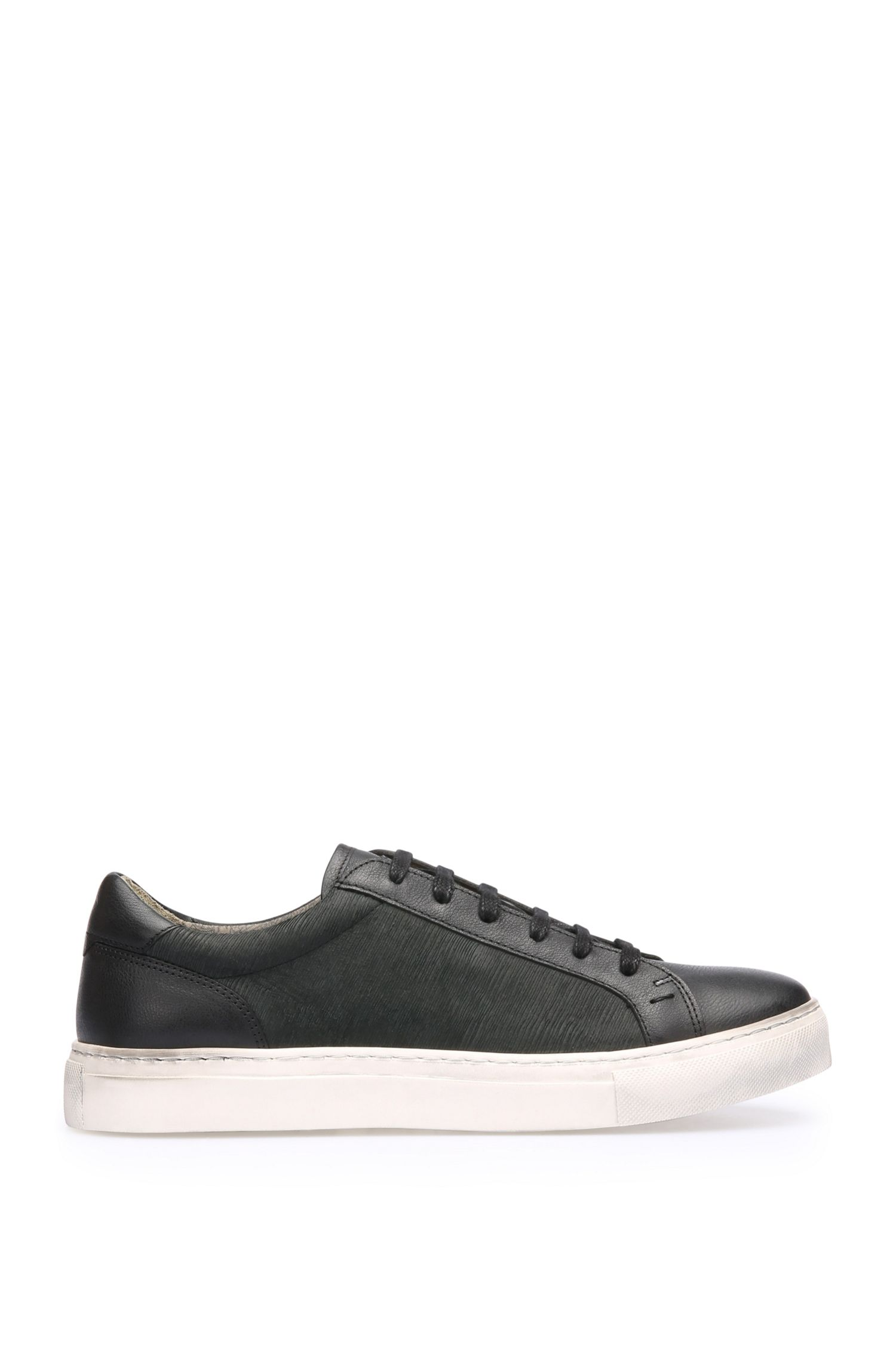 Leather trainers with varying textures: 'Noir_Tenn_sdls'