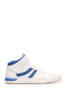 High-top trainers in leather and textile: 'Stillnes_Hito_ltws', Open White