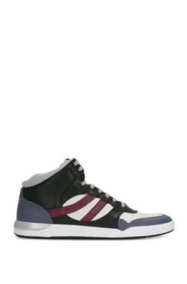 High-top trainers in leather and textile: 'Stillnes_Hito_ltws', Open Purple