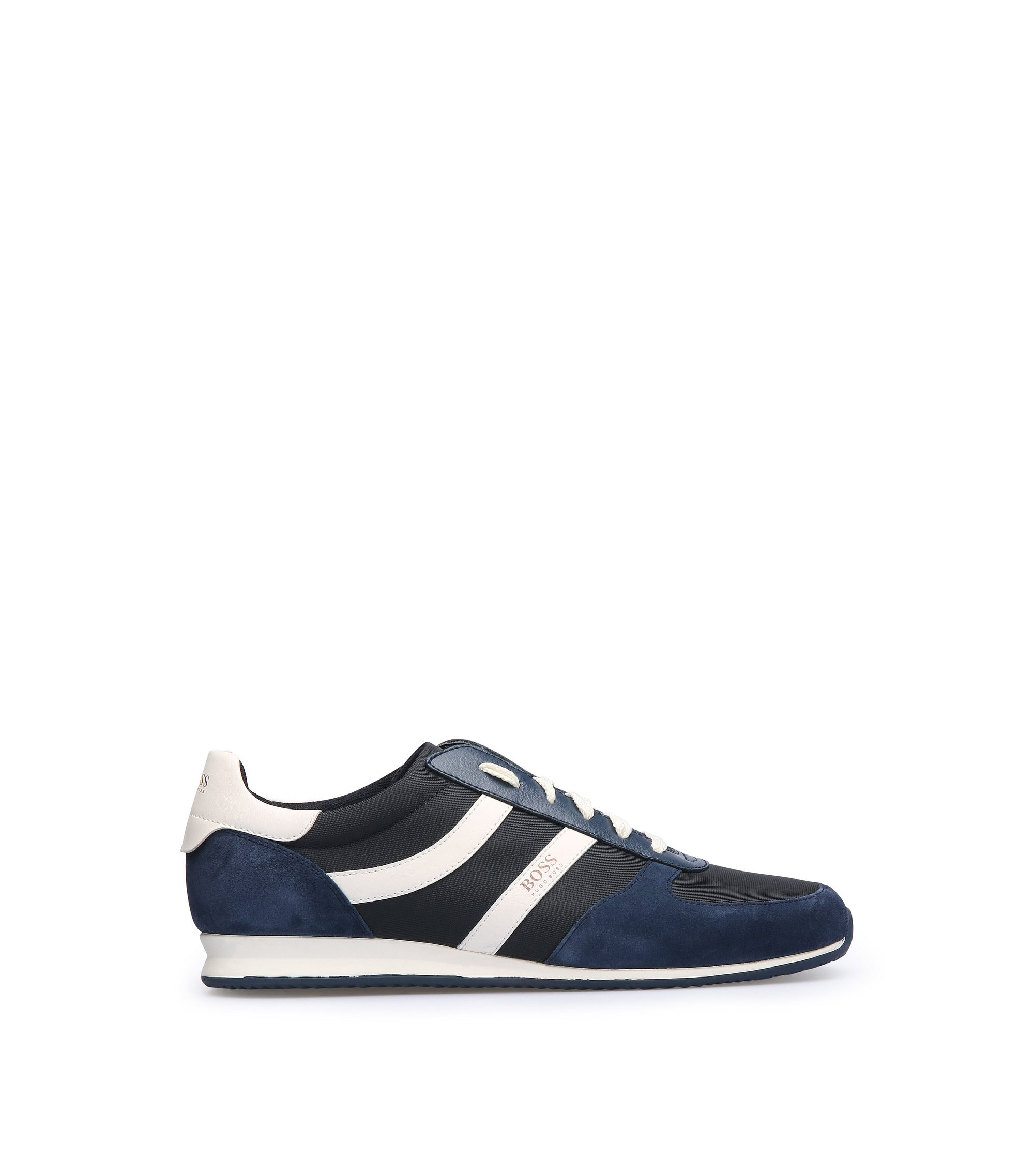 Sneakers aus Material-Mix mit EVA-Sohle, Dunkelblau