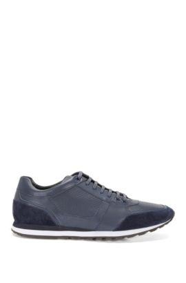 Sneakers van leer in een structuurmix: 'Breeze_Runn_ltpf', Donkerblauw