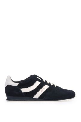 Low-top trainers in fabric blend with suede: 'Orland_Runn_sd', Dark Blue