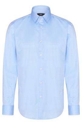 Camisa lisa regular fit en algodón: 'Enzo', Celeste