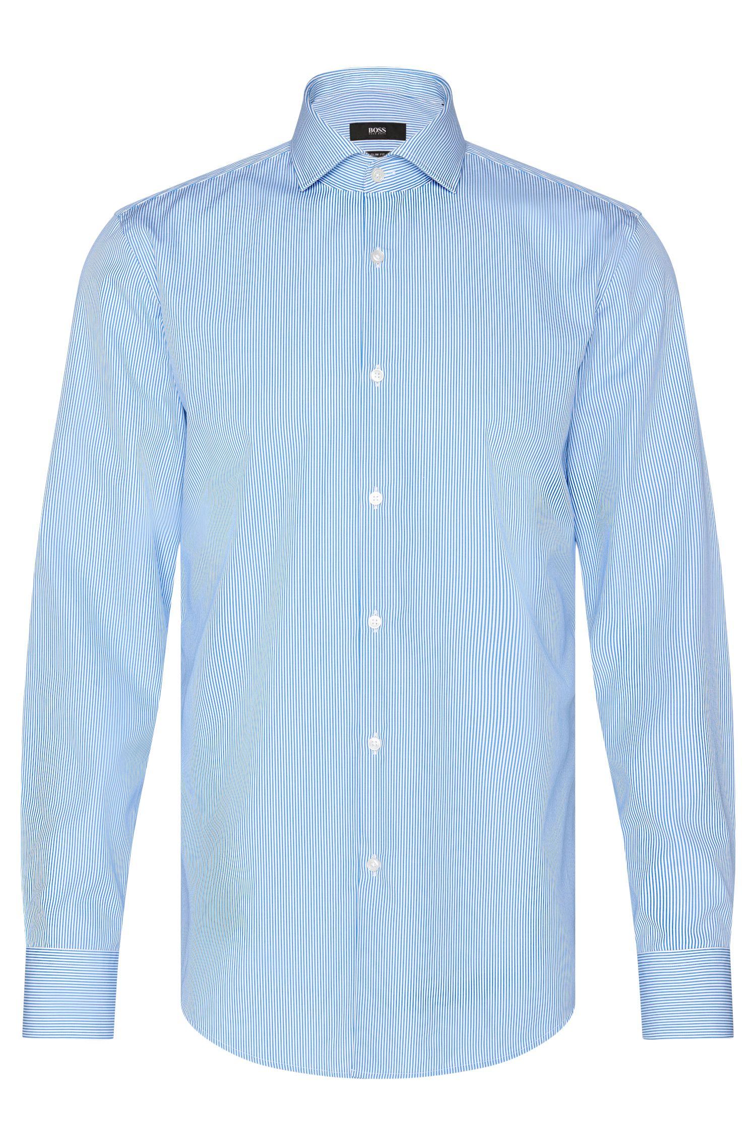 Camicia slim fit a righe sottili in cotone: 'Jason'