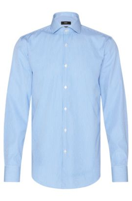 Finely striped slim-fit shirt in cotton: 'Jason', Light Blue