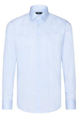 Chemise rayée RegularFit en coton: «Enzo», Bleu vif