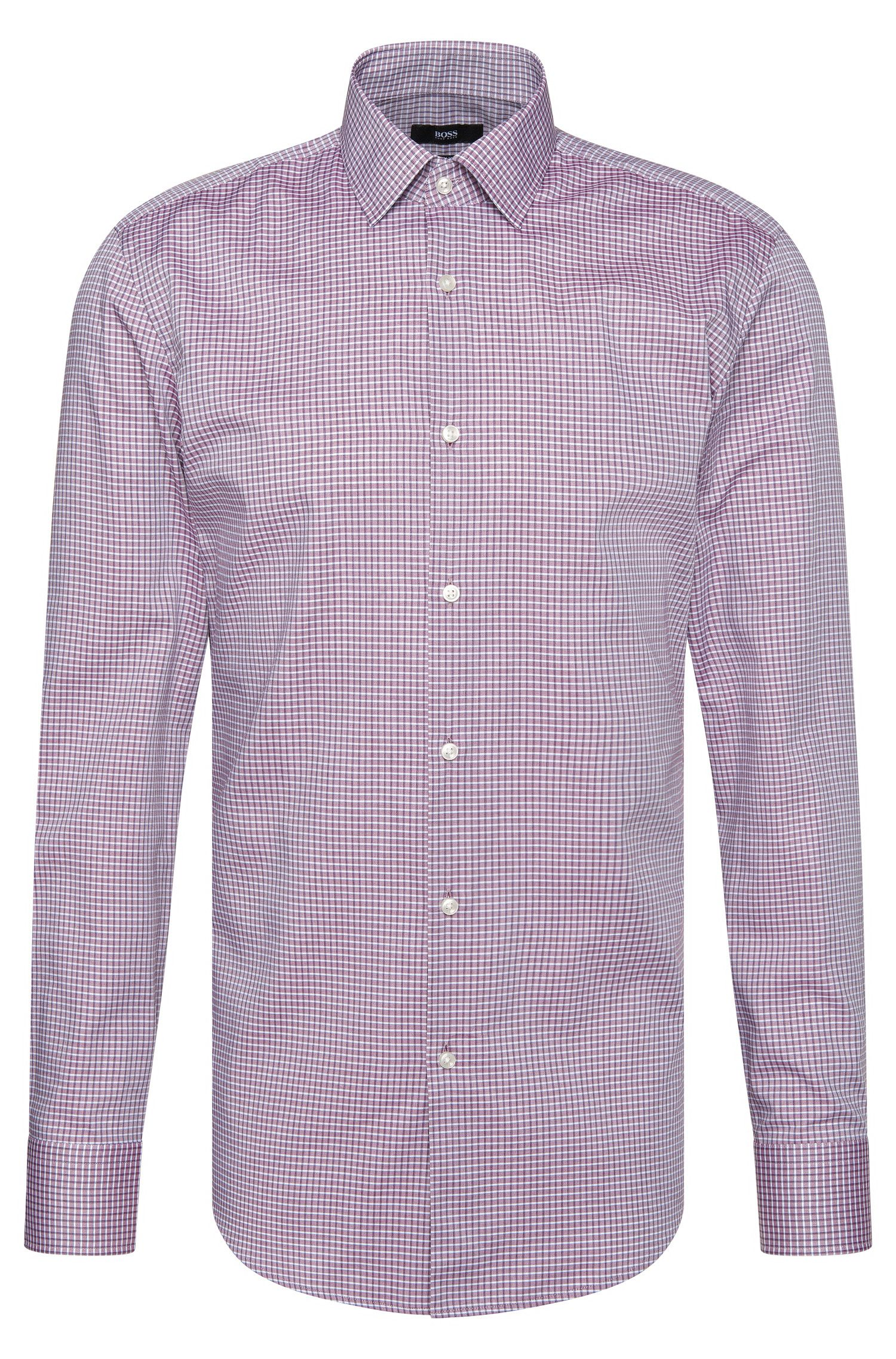 Camicia slim fit a quadri in cotone: 'Jenno'
