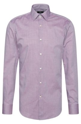 Camicia slim fit a quadri in cotone: 'Jenno', Viola scuro