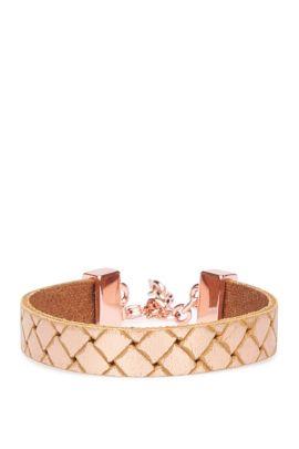 Leather bracelet in braided look: 'Morissa3', Brown