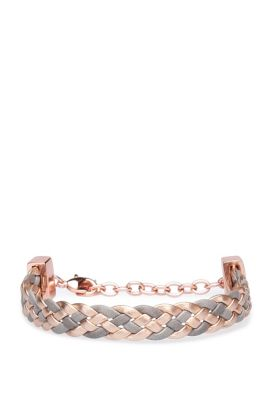 Repeatedly braided bracelet in leather: 'Melissa', Brown