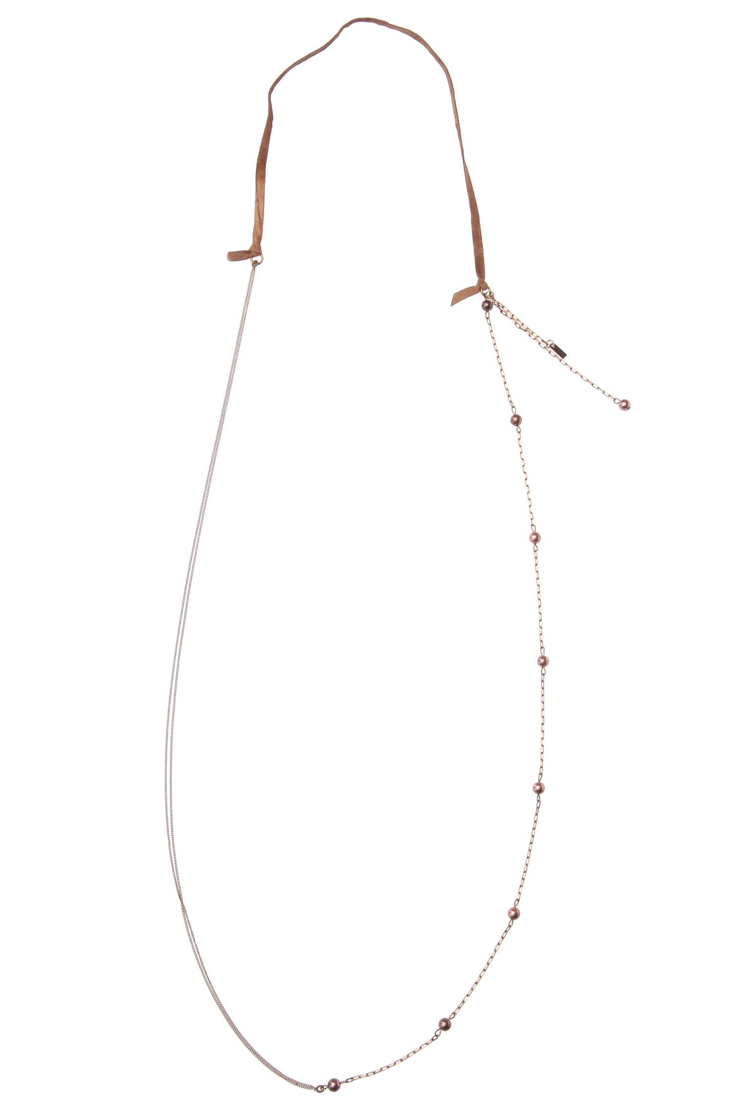 Delicate necklace with decorative beads and a suede-effect band: 'Marnie'