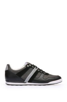 Sneakers aus Material-Mix mit Gewebe und Leder: ´Arkansas_Lowp_nych`, Schwarz