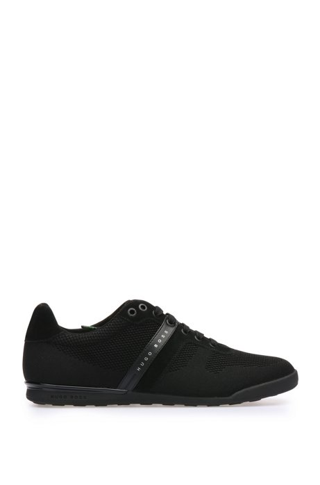 Low-top trainers in leather and knitwear-effect textile: 'Arkansas_Lowp_syjq', Black