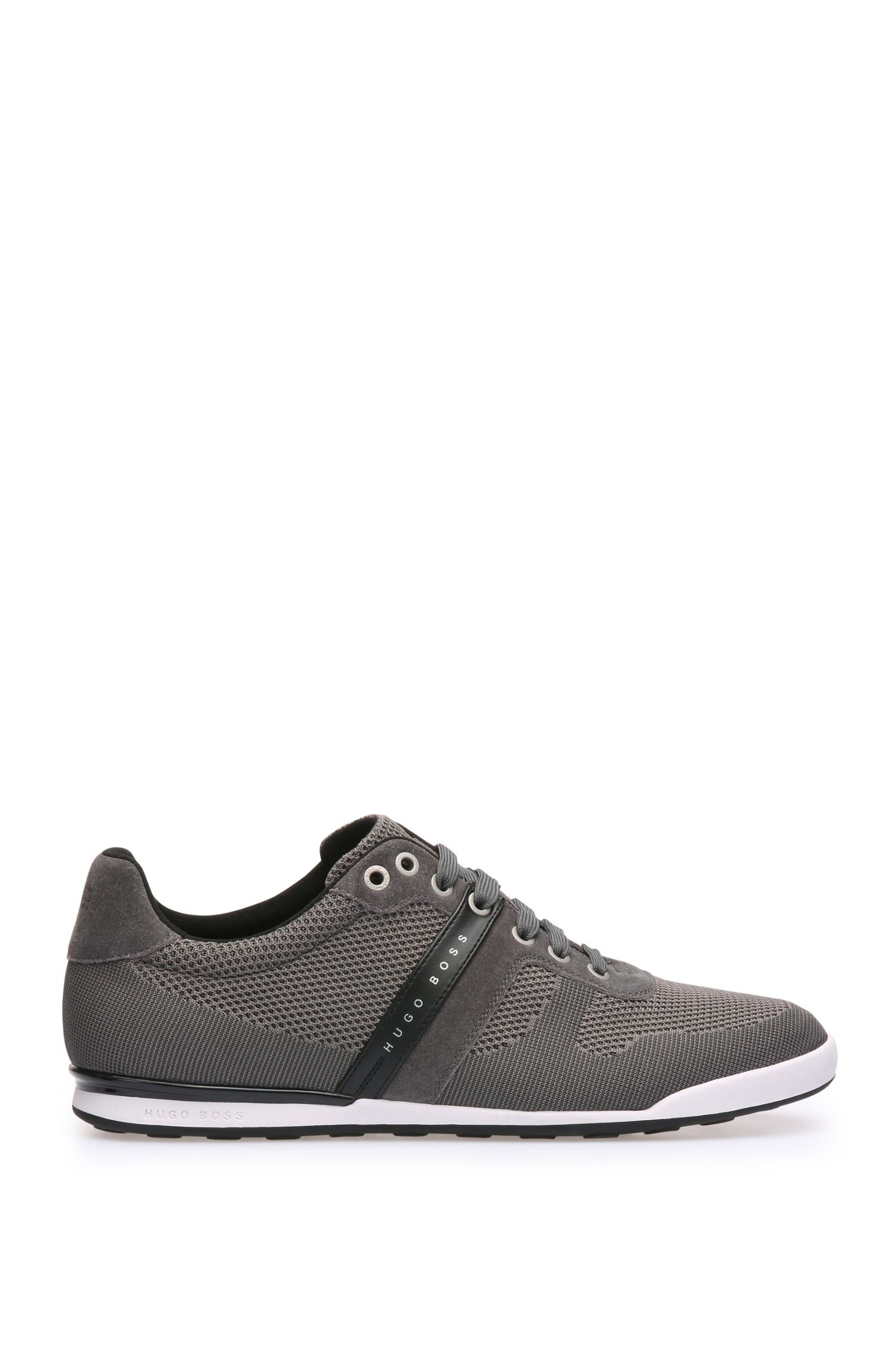 Low-top trainers in leather and knitwear-effect textile: 'Arkansas_Lowp_syjq'