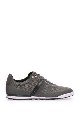 Low-top trainers in leather and knitwear-effect textile: 'Arkansas_Lowp_syjq', Dark Grey
