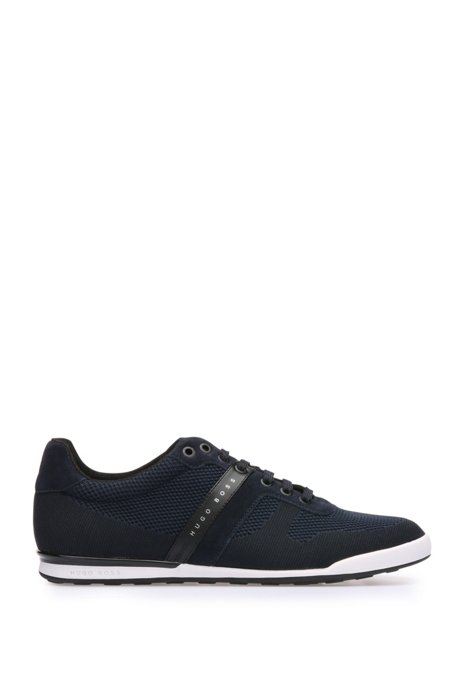 Low-top trainers in leather and knitwear-effect textile: 'Arkansas_Lowp_syjq', Dark Blue