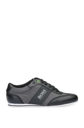 Trainers in smooth leather and textured material mix: 'Lighter_Lowp_nych', Black