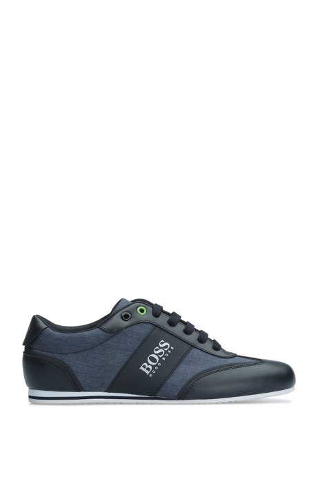 Trainers in smooth leather and textured material mix: 'Lighter_Lowp_nych', Dark Blue