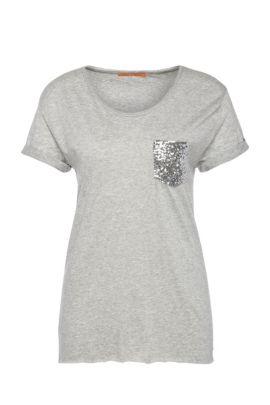 T-shirt Regular Fit ornementé, en mélange de matières à teneur en coton: «Tamiasa», Gris